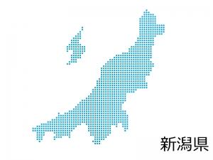 新潟県・四角ドットのデザイン地図のイラスト