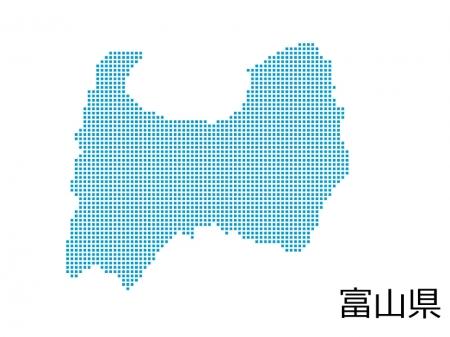 富山県・四角ドットのデザイン地図のイラスト
