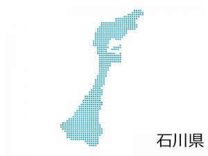 石川県・四角ドットのデザイン地図のイラスト