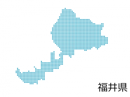 福井県・四角ドットのデザイン地図のイラスト