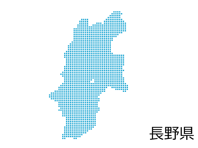 長野県・四角ドットのデザイン地図のイラスト