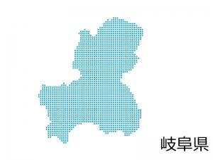 岐阜県・四角ドットのデザイン地図のイラスト