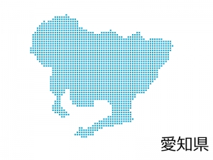 愛知県・四角ドットのデザイン地図のイラスト