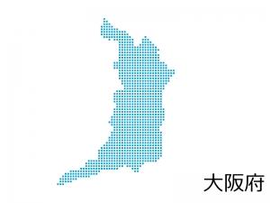 大阪府・四角ドットのデザイン地図のイラスト