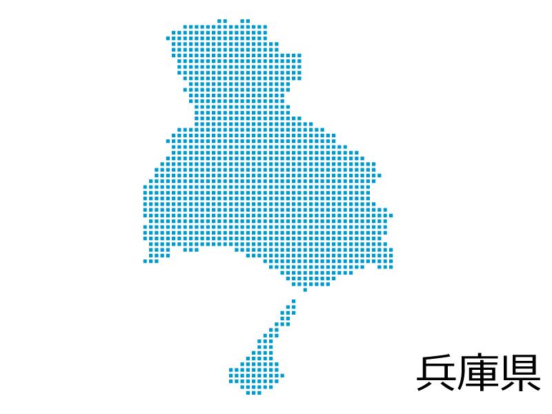 兵庫県・四角ドットのデザイン地図のイラスト