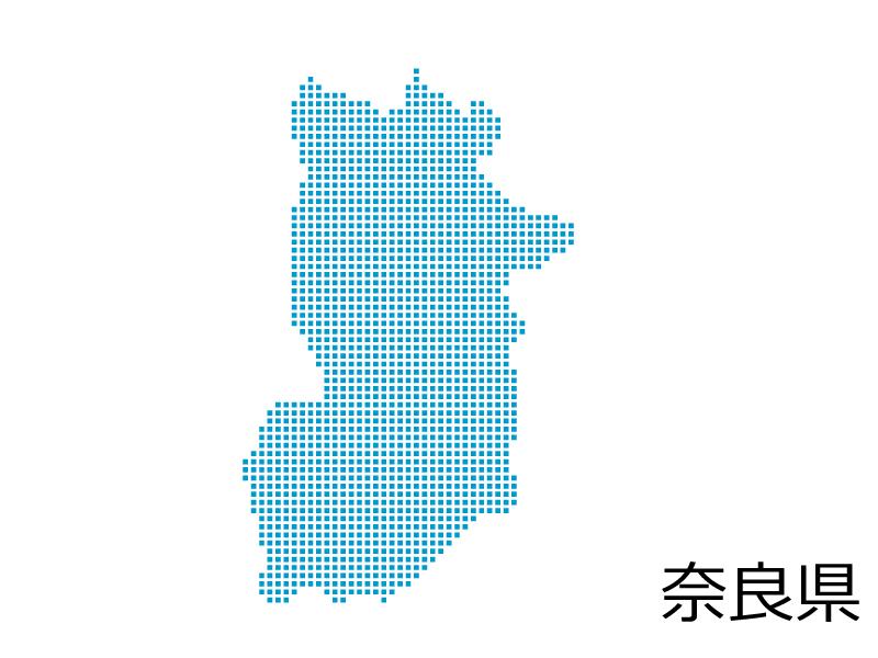奈良県・四角ドットのデザイン地図のイラスト