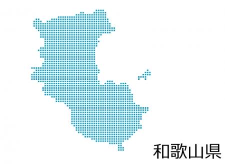 和歌山県・四角ドットのデザイン地図のイラスト