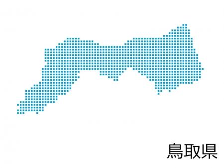 鳥取県・四角ドットのデザイン地図のイラスト