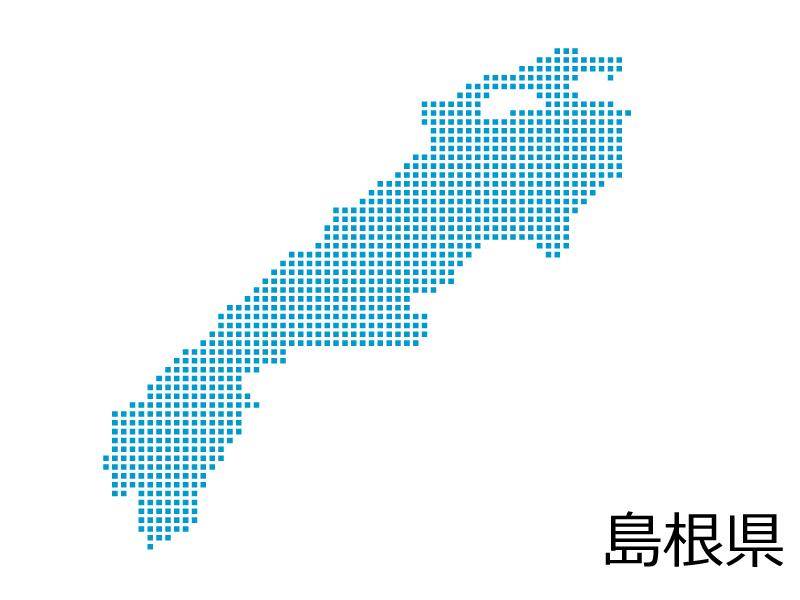 島根県・四角ドットのデザイン地図のイラスト