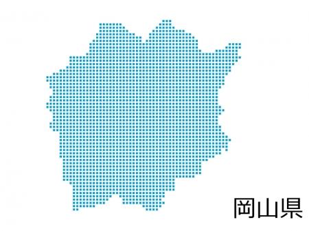 岡山県・四角ドットのデザイン地図のイラスト