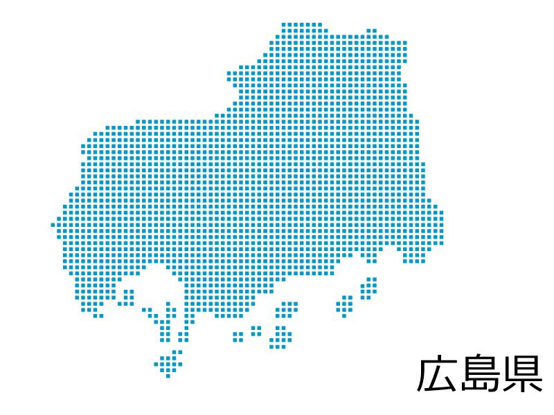 広島県・四角ドットのデザイン地図のイラスト