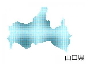 山口県・四角ドットのデザイン地図のイラスト