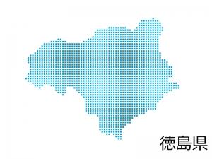 徳島県・四角ドットのデザイン地図のイラスト