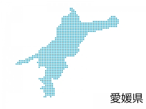 愛媛県・四角ドットのデザイン地図のイラスト