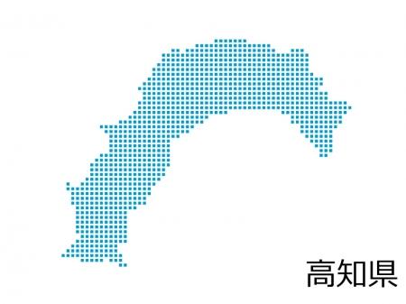 高知県・四角ドットのデザイン地図のイラスト