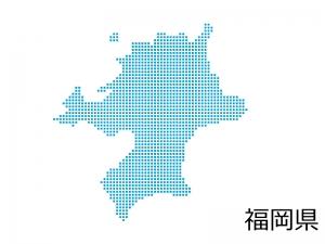 福岡県・四角ドットのデザイン地図のイラスト