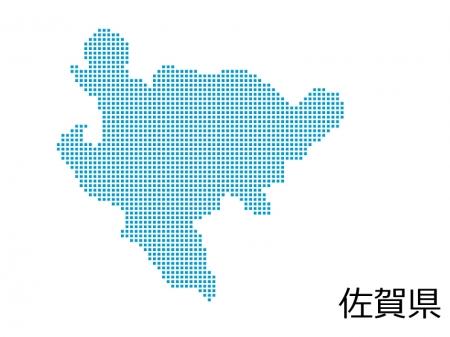 佐賀県・四角ドットのデザイン地図のイラスト