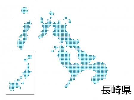 長崎県・四角ドットのデザイン地図のイラスト