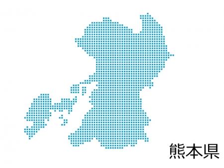 熊本県・四角ドットのデザイン地図のイラスト