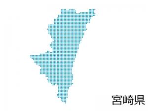 宮崎県・四角ドットのデザイン地図のイラスト