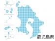 鹿児島県・四角ドットのデザイン地図のイラスト