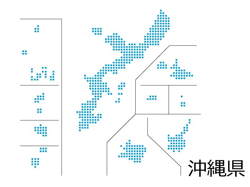 沖縄県・四角ドットのデザイン地図のイラスト