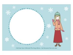 文字無し・コートを着た女の子の寒中見舞いテンプレートイラスト02