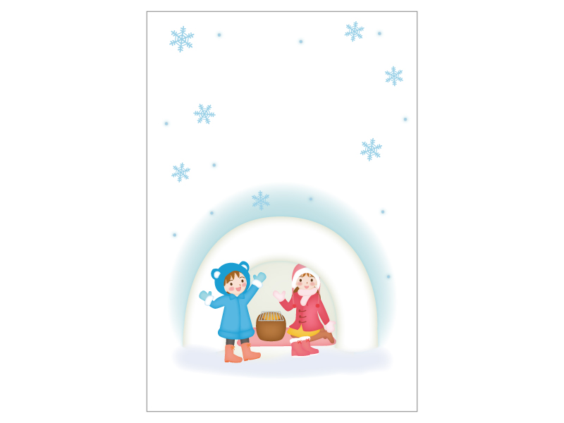 文字無し・かまくらで遊ぶ子供の寒中見舞いテンプレートイラスト01