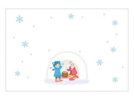 文字無し・かまくらで遊ぶ子供の寒中見舞いテンプレートイラスト02