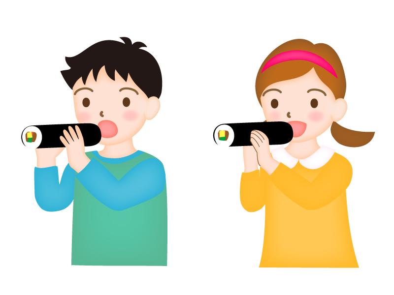 恵方巻きを食べている子供達のイラスト