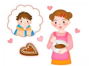 バレンタインで手作りチョコレートを作っている女性のイラスト