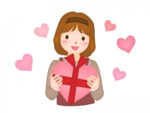バレンタインをイメージした女性のイラスト02