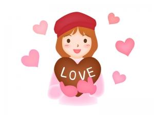 バレンタイン・ハート形のチョコレートを持った女性のイラスト