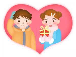 バレンタインをイメージした男の子と女の子のイラスト