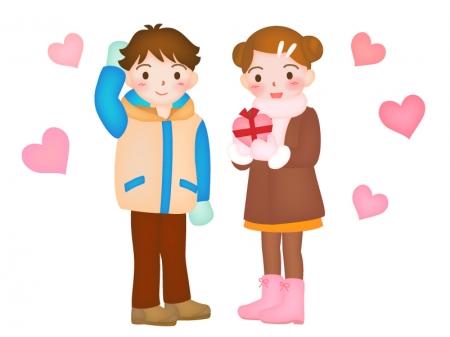 バレンタインをイメージした女性のイラスト素材02