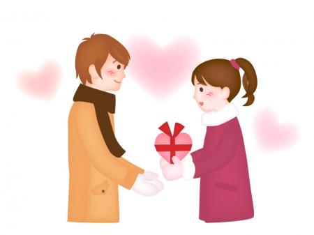 バレンタインでチョコレートを渡している女性のイラスト