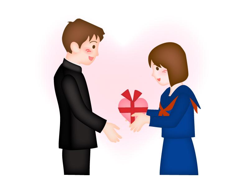 バレンタインでチョコレートを渡している女性学生のイラスト