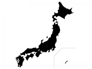 白黒シルエットの日本地図(ベクターデータ)のイラスト