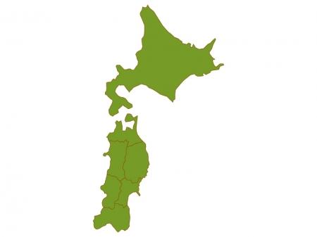 北海道と東北地方の地図(ベクターデータ)のイラスト