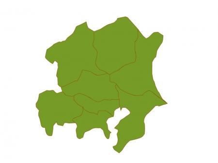 関東地方の地図(ベクターデータ)のイラスト
