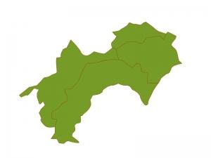 四国地方の地図(ベクターデータ)のイラスト