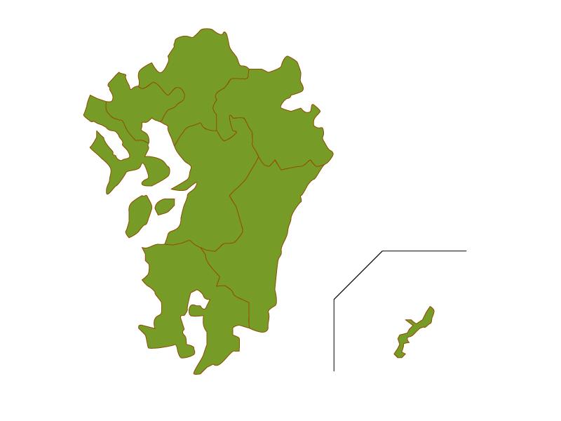 九州・沖縄地方の地図(ベクターデータ)のイラスト