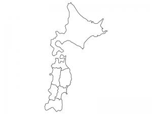 北海道と東北地方の白地図(ベクターデータ)のイラスト