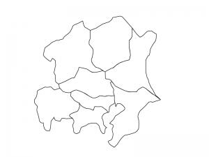 関東地方の白地図(ベクターデータ)のイラスト