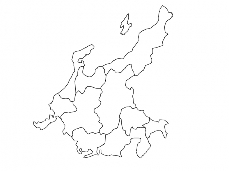 中部地方の白地図(ベクターデータ)のイラスト