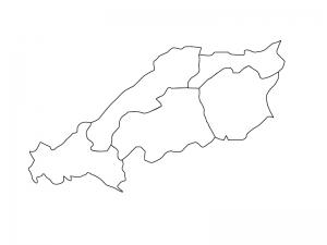 中国地方の白地図(ベクターデータ)のイラスト