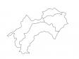 四国地方の白地図(ベクターデータ)のイラスト