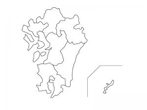 九州・沖縄地方の白地図(ベクターデータ)のイラスト
