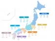 地方エリア分け都道府県名入りドットの日本地図(ベクターデータ)のイラスト
