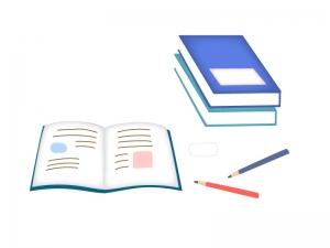 ノート・鉛筆・消しゴムなど文房具のイラスト